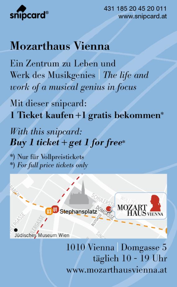 snipcard Mozarthaus Vienna, Bonus 1+1 gratis