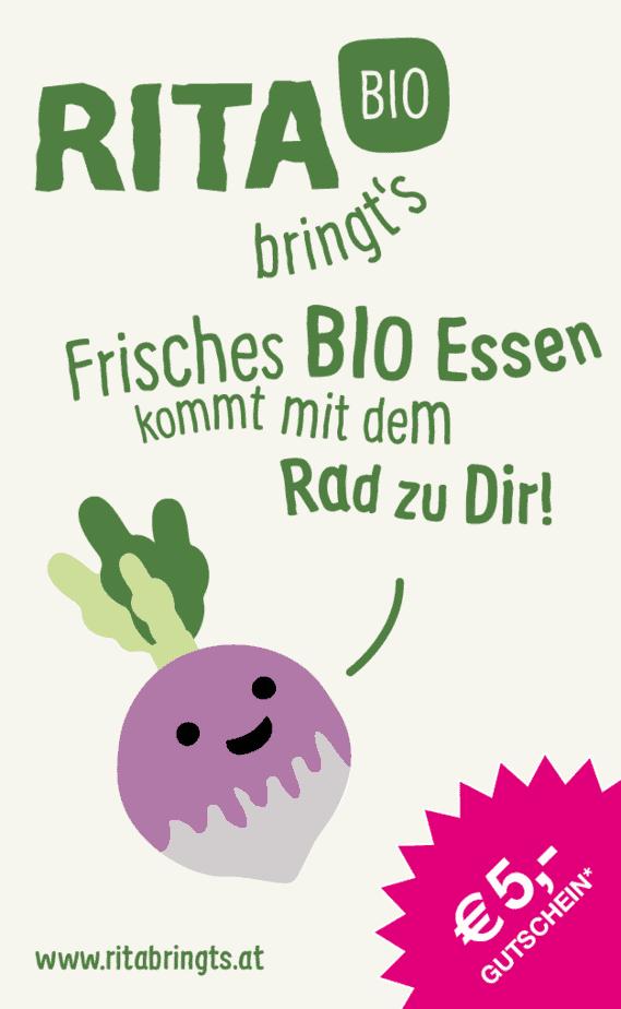 snipcard Rita bringt's, Aufschrift: Frisches Bio Essen kommt mit dem Rad zu dir, gezeichnetes Radieschen, Gutschein € 5,--