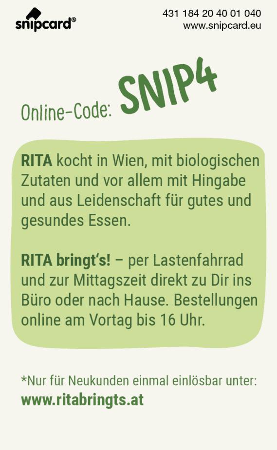 snipcard Rita bringt's, Beschreibung Lieferung per Lastenfahrrad, Online Code SNIP4