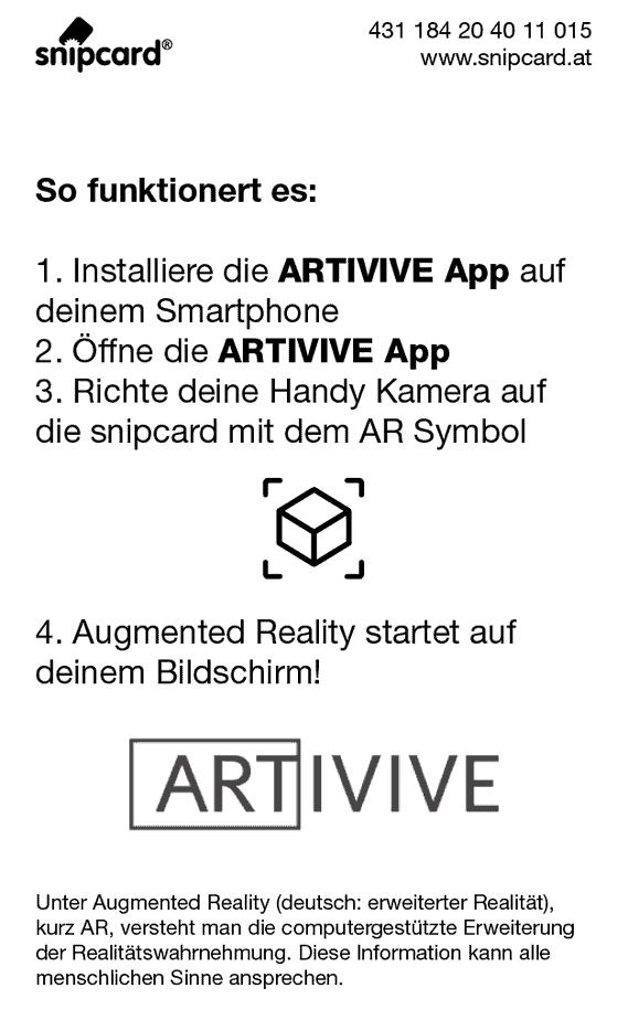snipcard AR Funktion Rückseite, Textbeschreibung der artivive App