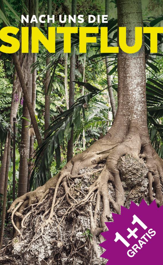 """snipcard 1+1 gratis für die Ausstellung """"Nach uns die Sintflut"""" im Kunst Haus Wien. Bild: entwurzelter Baum, im Hintergrund sind Palmen zu sehen"""