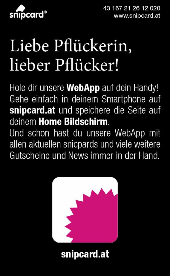 I love snipcard RS Hinweis auf die WebAPP snipcard.at